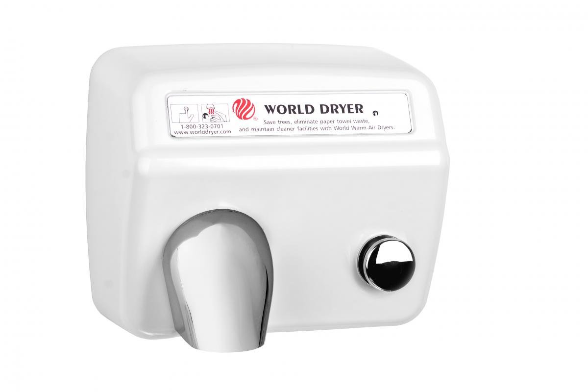 Model A Durable Hand Dryer Voltage: 110-120 V, 20 Amps, Finish: Steel White by World Dryer