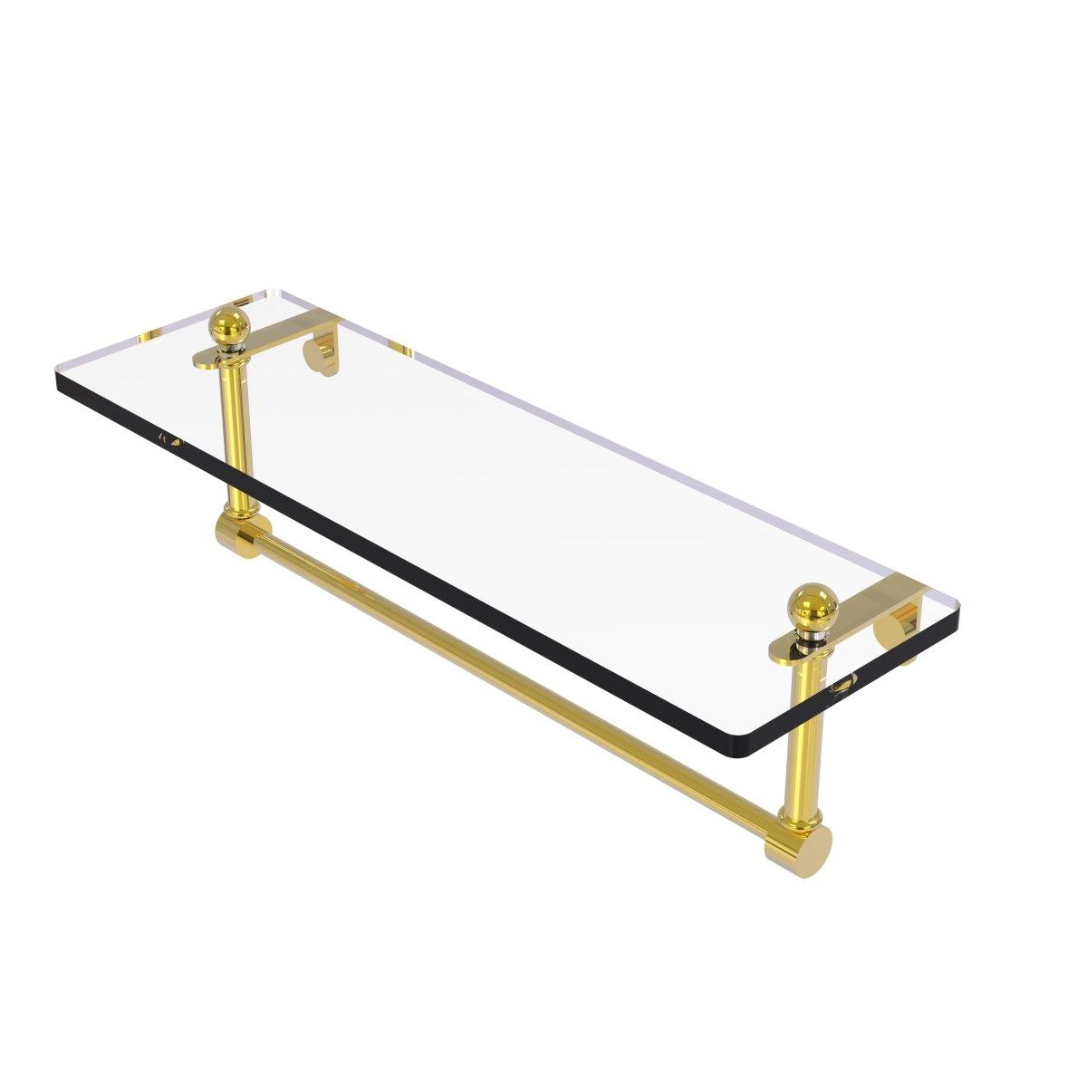 Allied Brass 16 Single Shelf w/Towel Bar Polished Brass by Allied Brass B003XRU7UK 16 in.|光沢真鍮 光沢真鍮 16 in.