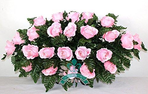 Beautiful XL Pink Rose Tombstone Headstone Saddle Funeral Wreath