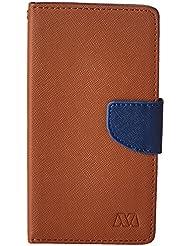MyBat Wallet Case for KYOCERA C6740 Wave - Retail Packaging - Blue/Brown
