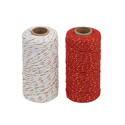 Tenn Well 200m Bakers Twine, 2mm Gold Wire Combined Cotton Twine Cording For Christmas Holidays DIY Arts Threading Decorations Baking Butchers(2 Pack)