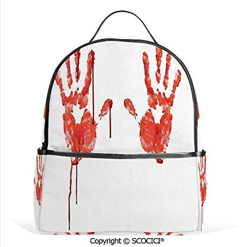 Casual Fashion Backpack Handprint like Wanting Help Halloween Horror Scary Spooky Flowing Blood Themed Print,Red White,Mini Daypack for Women & Girls]()