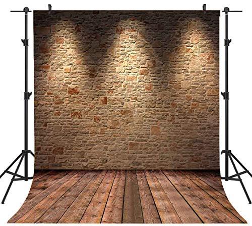 Sensfun 5X7 FT Brown Brick Wall Backdrop Silk Seamless Photography Background With Lights Studio