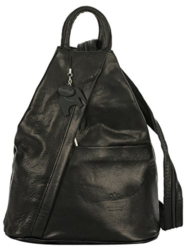 Soft Unisex Bag Alex Convertible Italian Strap Plain Liatalia Leather Duffle Small Rucksack Backpack black 45Twdqvxv