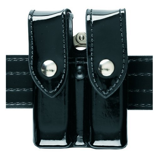 Safariland 72 Magazine/Handcuff Case, Black, High Gloss, Brass (Safariland Standard Hinge Handcuff)