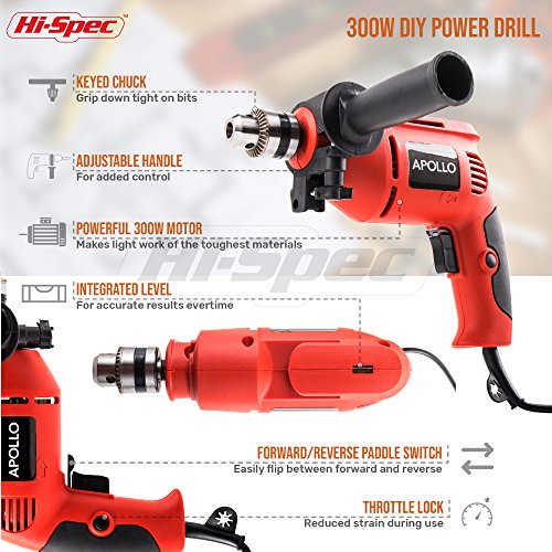 Hi-Spec Complete 130pc 110V 300W Hammer Power Drill & Hand Tool Set Combo Kit with Hacksaw, Pliers, Claw-Hammer, Wrench, Box Cutter, Hex Keys, Screwdrivers, Socket and Driver Bits, Voltage Tester Case by Hi-Spec (Image #2)