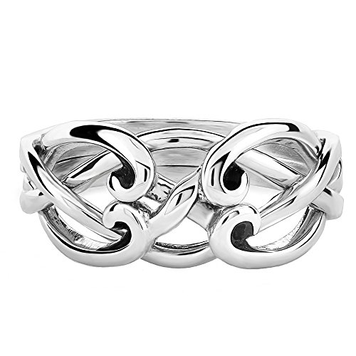 UCTUK Ladies 4 Band 4CSL Sterling Silver Celtic Puzzle Ring (8)
