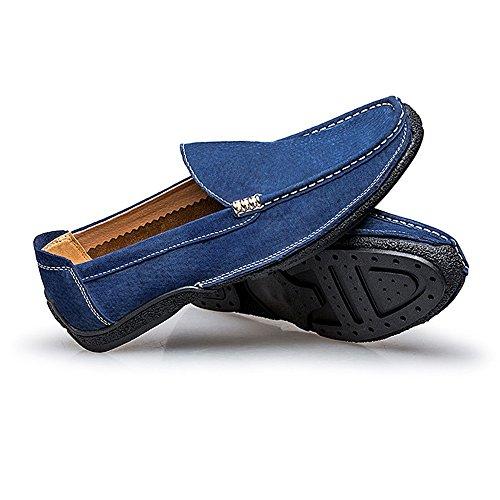 da guida in per suede Blu Mocassini 2018 uomo Suture vera Mocassini da Mocassini pelle shoes di barca Handwork Hongjun uomo qtxREpwB