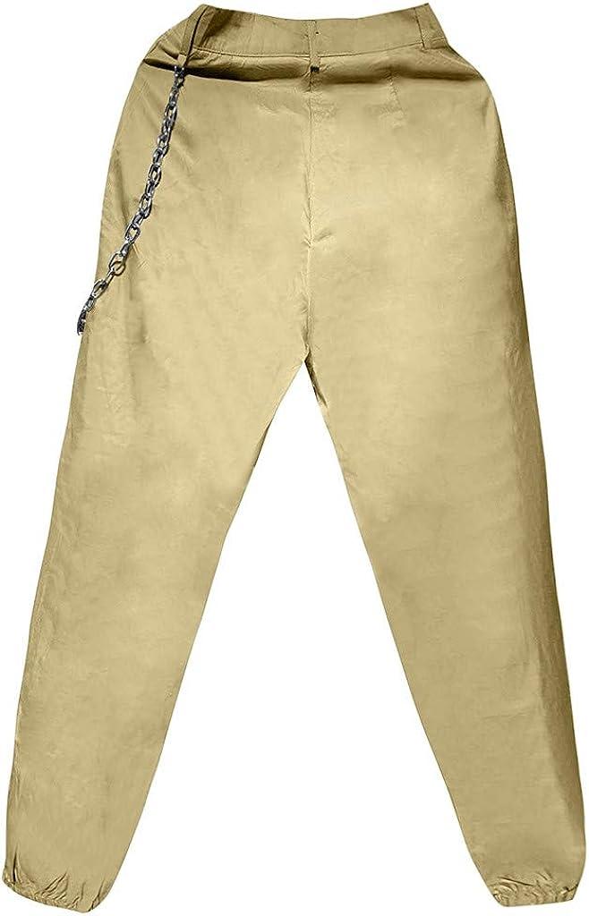 Padaleks Womens High Waist Cargo Pants Lightweight Hiking Outdoor Workout Sweatpants Punk Hip Hop Trousers Streetwear