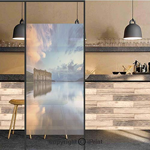 - 3D Decorative Privacy Window Films,Epic Long Exposure European Building in Dam with Water Historical Landmark Print,No-Glue Self Static Cling Glass Film for Home Bedroom Bathroom Kitchen Office 24x36