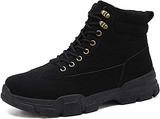 XIMINGJIA-O Men Work Boots High Shoe Lacing Boots Suede Non-Slip Wear Lug Sole Solid Men's Leather Shoes, Traditional Classic Design sh