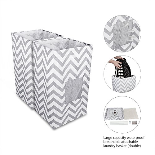 Laundry Basket Breathable Collapsible Hamper Cloth Sorter Removable Lining by ABC life (Double)