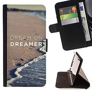 - dream on dreamer sand beach ocean - - Prima caja de la PU billetera de cuero con ranuras para tarjetas, efectivo desmontable correa para l Funny HouseFOR Samsung Galaxy S3 III I9300