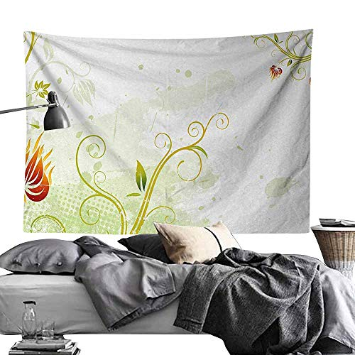 MaureenAustin Art Tapestry,Floral,Swirled Petals Lines on Grunge Background Retro Scroll Botany Design,Light Green Pistachio Ruby Tapestries for Home Dorm Decoration60 x60 ()
