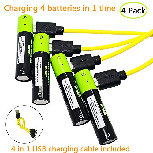 USB Rechargeable Batteries AA Cell Battery Pack 1250mAh High Capacity with Micro USB charging cable (4 pack)