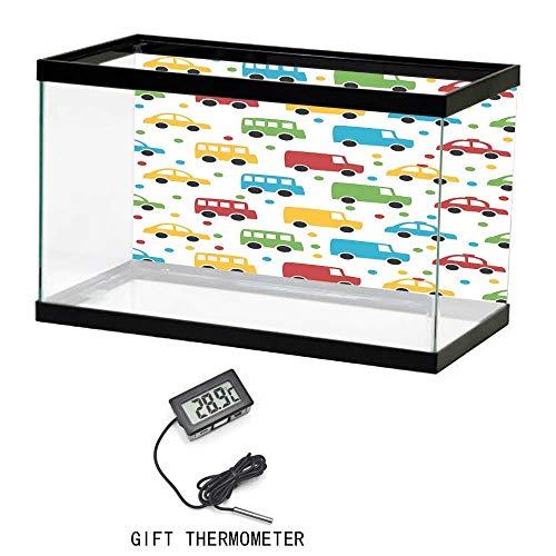 Aquarium Personalize Background Sticker, Cars, Vivid Colored Silhouettes of Transportation Vehicles Bus Taxi Automobile Kids Pattern, Multicolor, 24