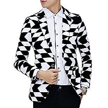 Ouye Men's Classic Black White 1 Button Casual Blazer