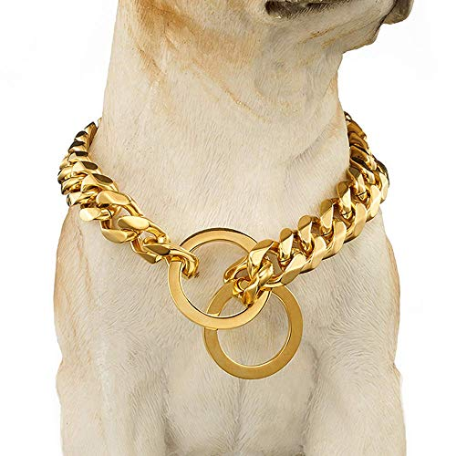 arge Stianless Steel 15mm 18K Gold Big Dog Cuban Link Collar Necklace Chain for dog 24 inch(16 inch, Gold) ()