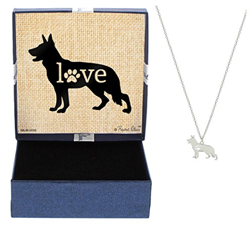 Mother's Day Gifts German Shepherd Love Dog Breed Silhouette Dog Paw Heart Necklace Jewelry German Shepherd Necklace Gift for German Shepherd Owner