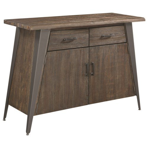 Fremont 2-door Server with Angled Legs Dark Rustic Brown and Gunmetal Scott Living 107865