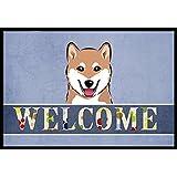 "Caroline's Treasures BB1411MAT Shiba Inu Welcome Indoor or Outdoor Mat, 18 x 27"", Multicolor"
