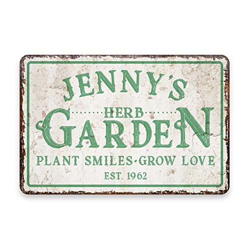 - Pattern Pop Personalized Vintage Distressed Look Herb Garden Metal Room Sign