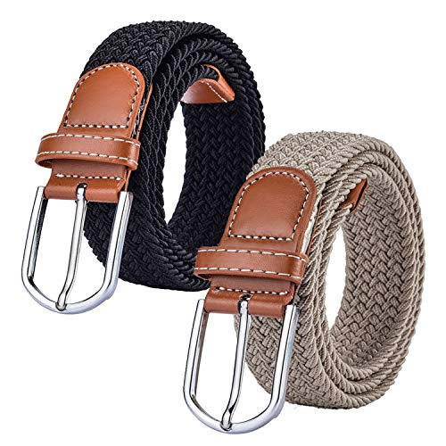 2 Pack Braided Canvas Belts Womens Woven Elastic Stretch Fabric Multicolored Belt ()