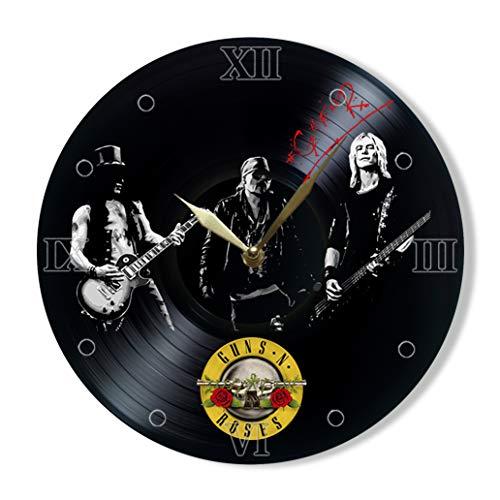 Guns N' Roses Vinyl Clock Painted - Wall Clock Guns N' Roses Hard Rock Band - Best Gift for Rock Music Lover - Original Wall Home -