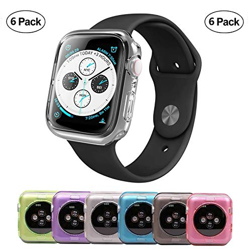 Tech Express 6 Pack Lot of Cases Clear, Pink, Blue, Gray, Green & Purple Color Bumper Protection for Apple Watch Series 4 [iWatch Cover] Rugged TPU Gel 40mm, 44mm Full Body Shockproof Lot of 6 (44mm)