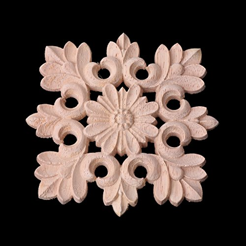Junlinto Exquisite Wood Carved Corner Onlay Applique Frame Furniture Unpainted Home Decor Wooden Color