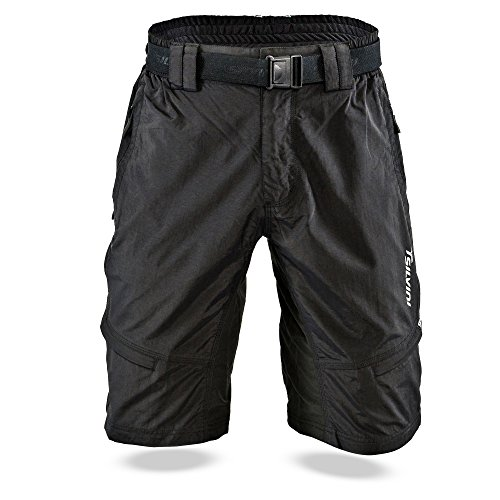 Micargi 26' Mountain Bike - SILVINI Mountain Bike Shorts Rango with 6 Pockets for Men's MTB Cycling and All Other Outdoor Activities (Black M)