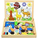 Magnetisches Holzpuzzle, InnooBaby 100 Stück Doppelseitige Holzpuzzle, Magnetisches Holzspielzeug, Puzzle aus Holz, Pädagogische Lernspiel, Tolles Geschenk für Baby Kleinkinder ab 3 Jahre