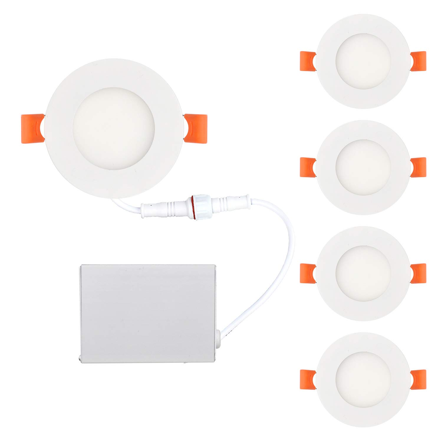OSTWIN 3 inch 6W (30 Watt Repl.) IC Rated LED Recessed Low Profile Slim Round Panel Light with Junction Box, Dimmable, 5000K Daylight 420 Lm, 4 Pack No Can Needed ETL & Energy Star Listed