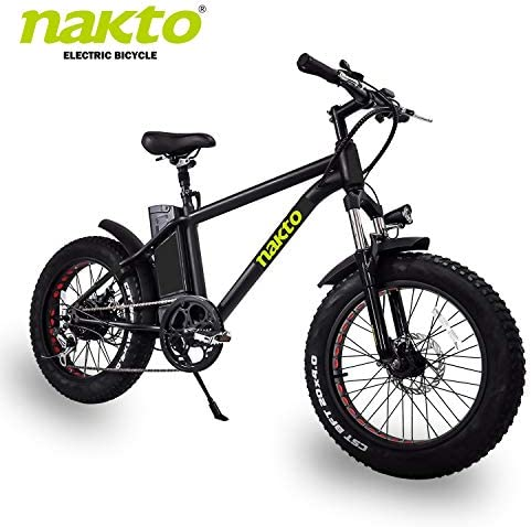 nakto 20 26 Electric Bike Fat Tire Mountain Ebike 300W 350W 500W Electric Bicycle with 36V10A 48V12A Lithium Battery Black White