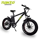 nakto 20″/26″ Electric Bike Fat Tire Mountain Ebike 300W/350W/500W Electric Bicycle with 36V10A/48V12A Lithium Battery (Black/White)