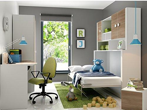 Kinderzimmer Jugendzimmer Mario Children Furniture Schrankbett inkl.Matratze in der Farbe Weiss/Akazie