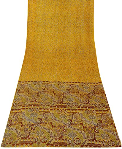 Vintage Indian Saree Pure Silk Floral Printed Yellow Dress Making Sari Art Decor 5 Yds