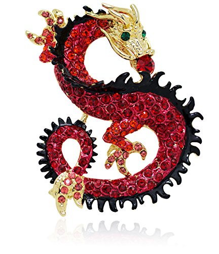 Akianna Gold Tone Swarovski Element Dragon Brooch Pin Pendant Red