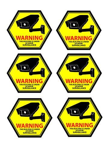 Mandala Crafts Home Business CCTV Surveillance Security Camera Video Warning Sticker Sign (Back Adhesive Yellow)