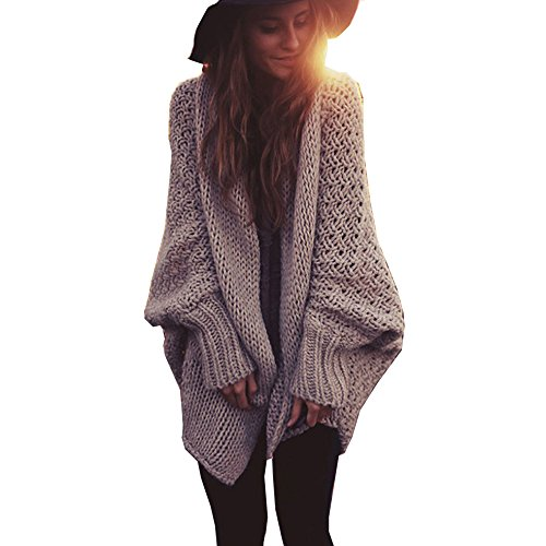 Mcupper-Women Oversized Loose Knitted Sweater Batwing Sleeve Taupe (One Size Fits Most)