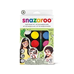 SNAZAROO offers the World's Safest and Easiest to use Face Paints! The products are water-based, dry to the touch in one minute and wash off easily with mild soap and water.This 8-1/2x6x1-1/4 inch package contains five 2ml classic colors, one...