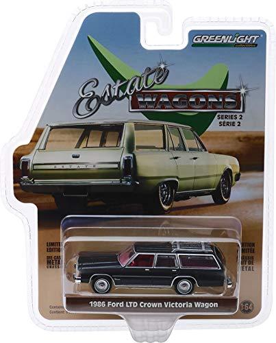Greenlight 1/64 Estate Wagons 2-1986 Ford LTD Crown Victoria Wagon - Dark Metallic 1:64 Scale Die-Cast Vehicle