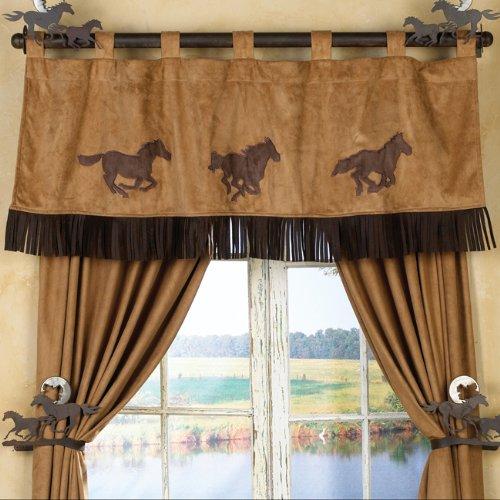 Three Horses Adobe Western Valance - Southwestern Window Treatment