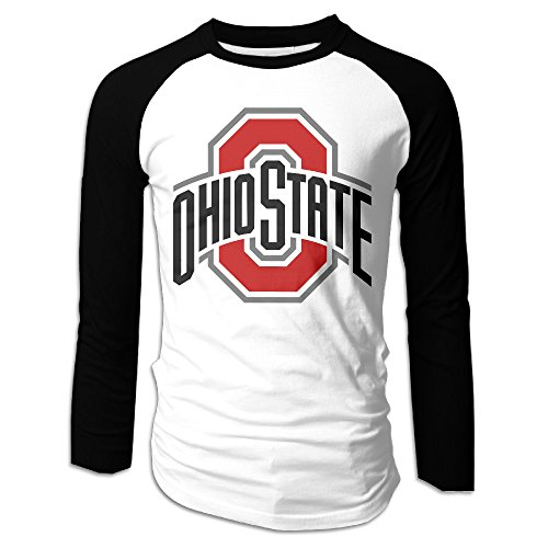 Men's Ohio State Buckeyes 100% Cotton Long Sleeve Athletic Baseball Raglan Shirt Black US Size M