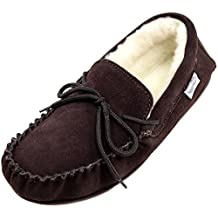 SNUGRUGS Mens Suede Sheepskin Moccasin Slippers with Wool Lining and Rubber Sole