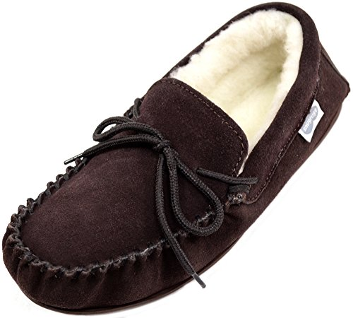 with Brown Dark Lined Wool Uomo Rubber Suede Brown Pantofole Sole SNUGRUGS Moccasin zZIqzH
