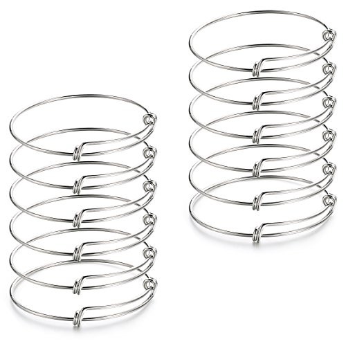2.4 inch 12 pcs Expandable Adjustable Wire Blank Charms Bangle Bracelet for Women,Men, DIY Jewelry Making