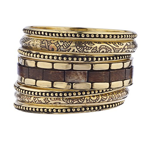 Lux Accessories Gold Tone Wood Burnished Aztec Multi Bangle Bracelet Set ()