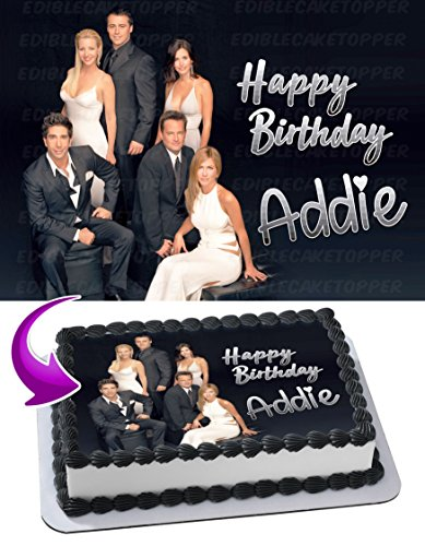 Friends TV Show Image Cake Topper Personalized Birthday 1/4 Sheet Decoration Custom Sheet Party Birthday Sugar Frosting Transfer Fondant Image ~ Best Quality Edible Image for cake (Birthday Cake Images For Best Friend)