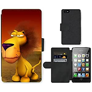 Hot Style Cell Phone Card Slot PU Leather Wallet Case // M99999474 Funny 3D Animals - Lion // Apple iPhone 4 4S 4G